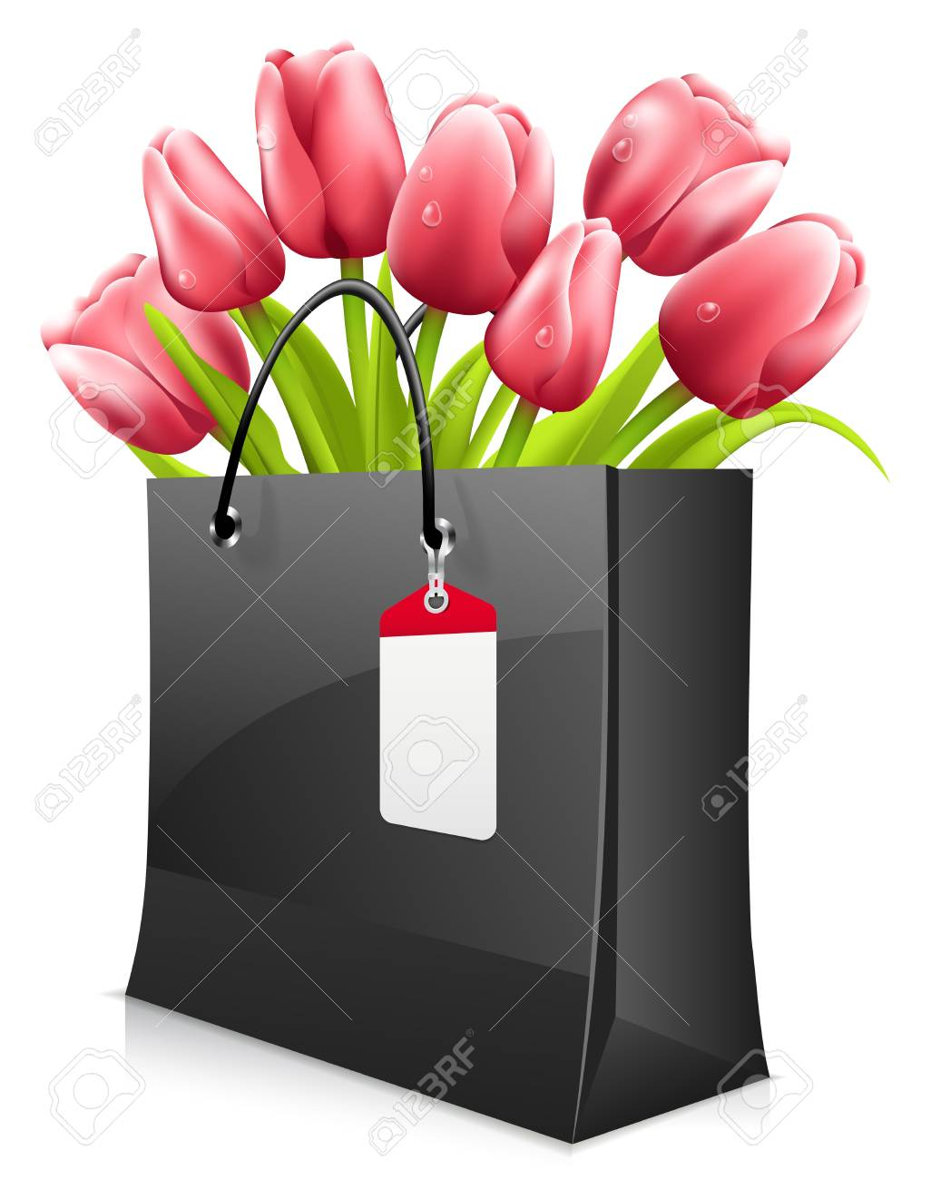 Tulips in shopping bag isolated on white Stock Vector - 18159592