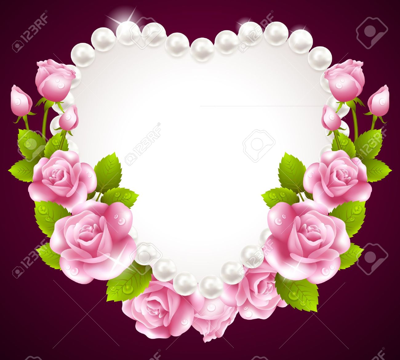 Hqert pink rose and pearls frame Stock Vector - 21528790