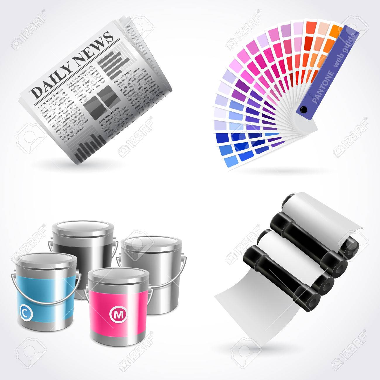 Vector print shop icon set Stock Vector - 25998345