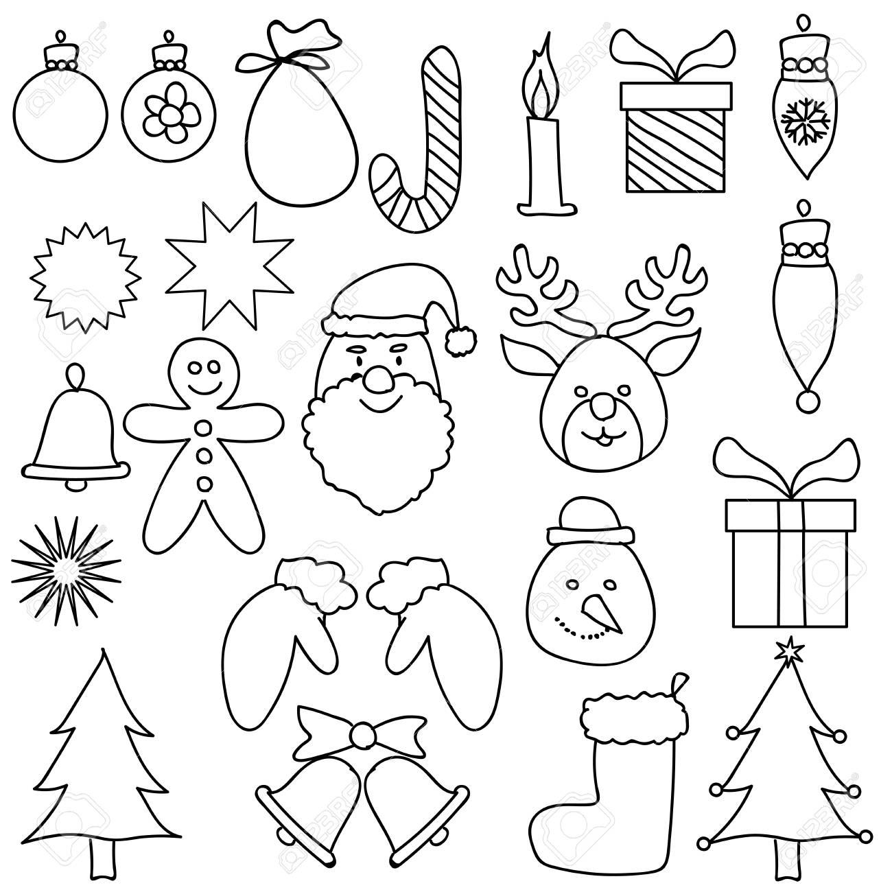 Ornement De Noël Dessin Set Noir Blanc