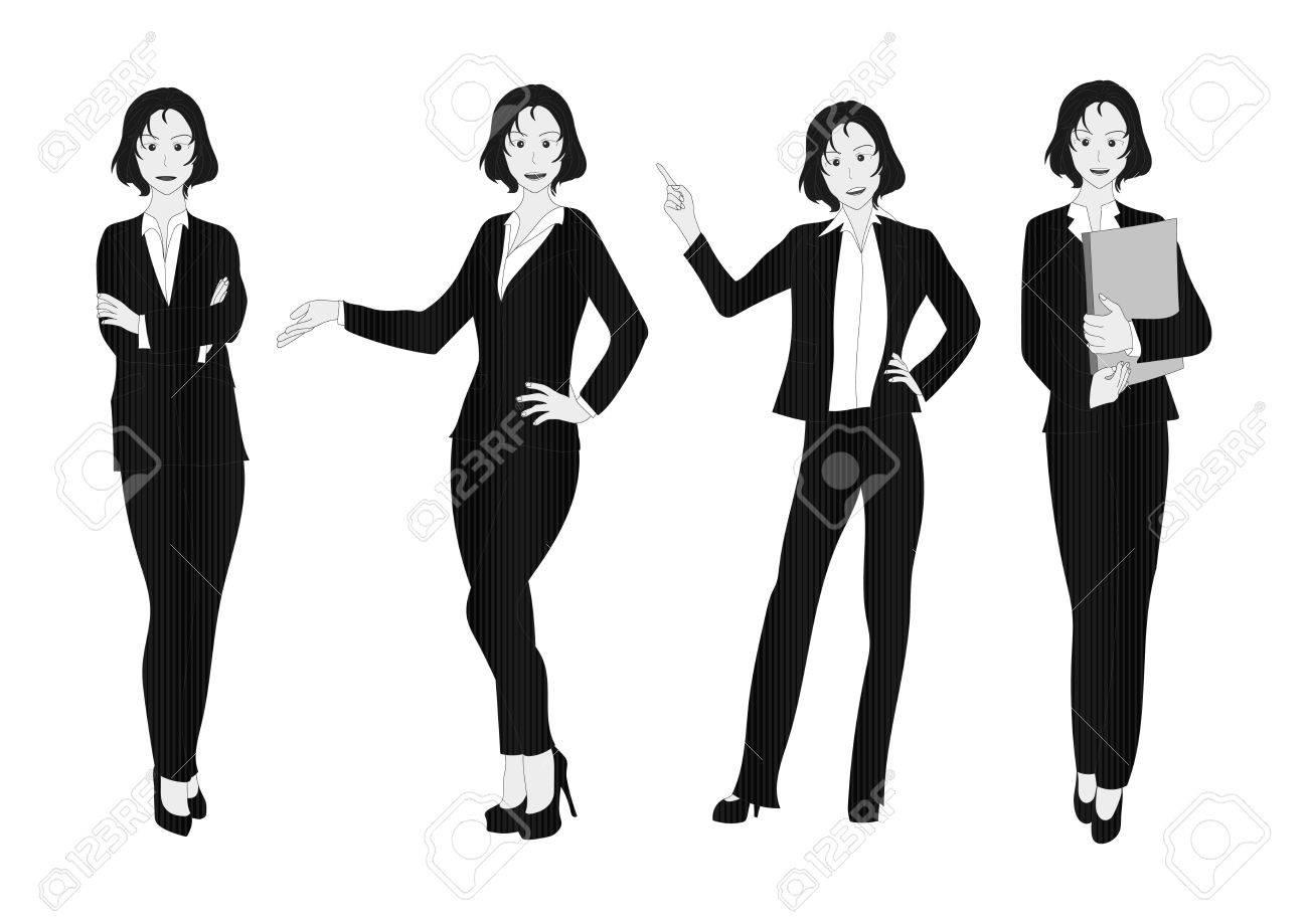 ビジネス女性灰色の全身イラストのイラスト素材 ベクタ Image