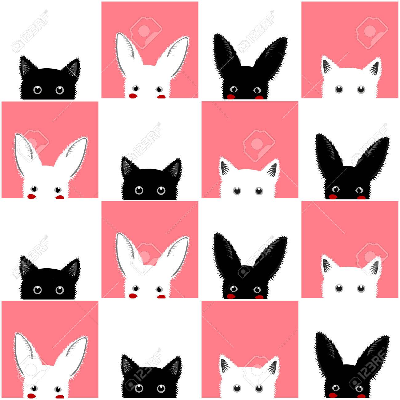 Black white pink cat rabbit chess board background vector illustration stock vector 52207018