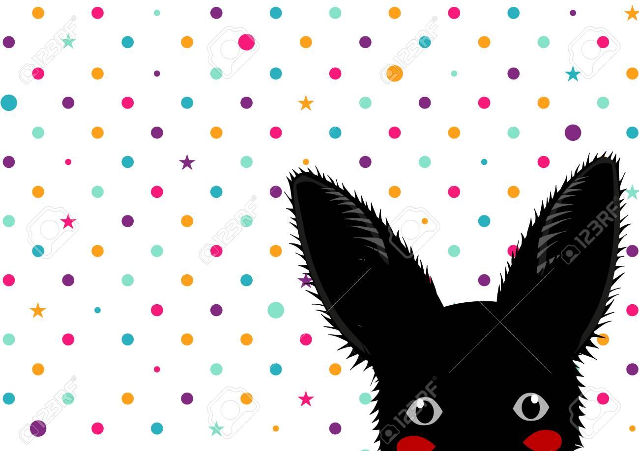 Conejo Negro Colores De Fondo De Los Puntos De La Estrella ...