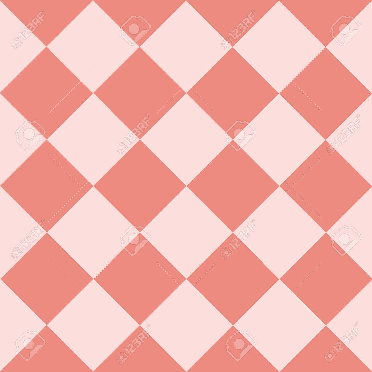 Light Pink Coral Chess Board Diamond Background Vector Illustration