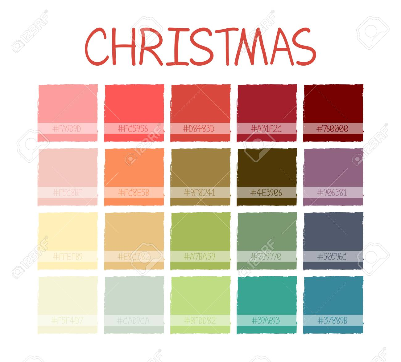 Christmas Colors Palette.Christmas Colorful Tone Colors Palette Scheme Pastel Vintage