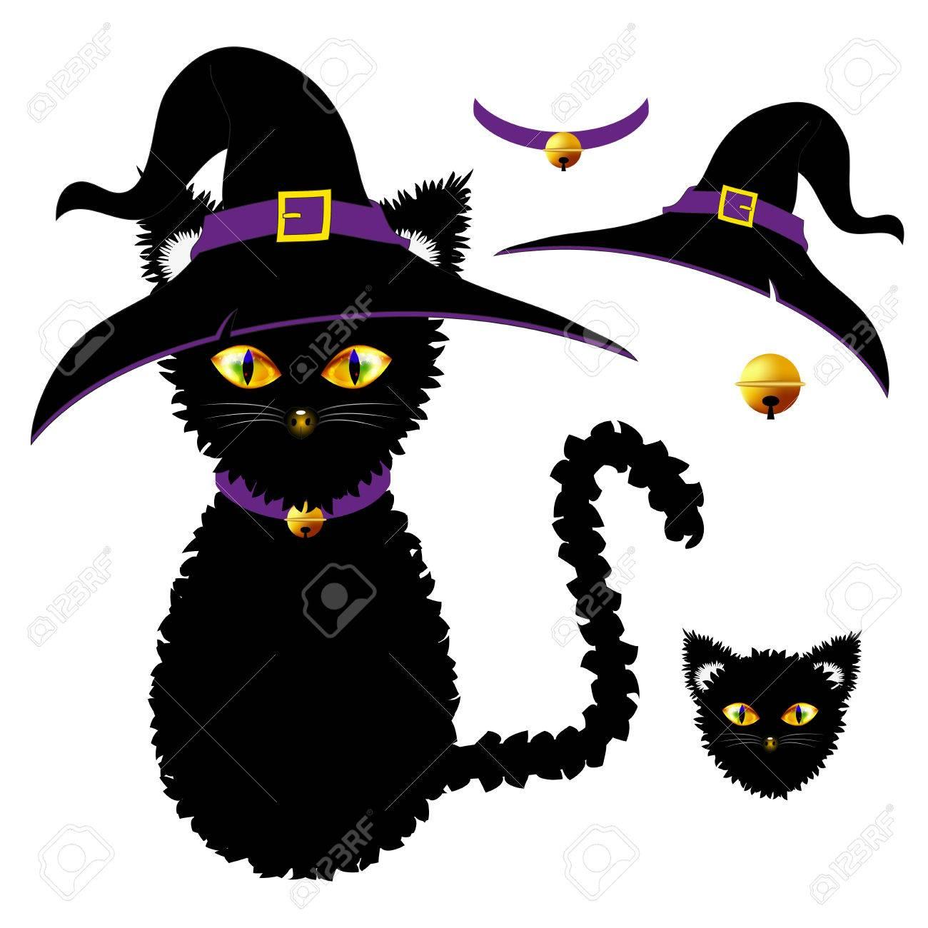 Foto de archivo - Gato negro con los ojos amarillos. Sombrero de la bruja 067746da994