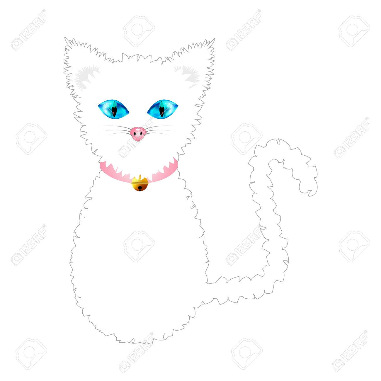 Vector white cat with blue eyes and golden ball bell pink collar vector illustration isolated on white background