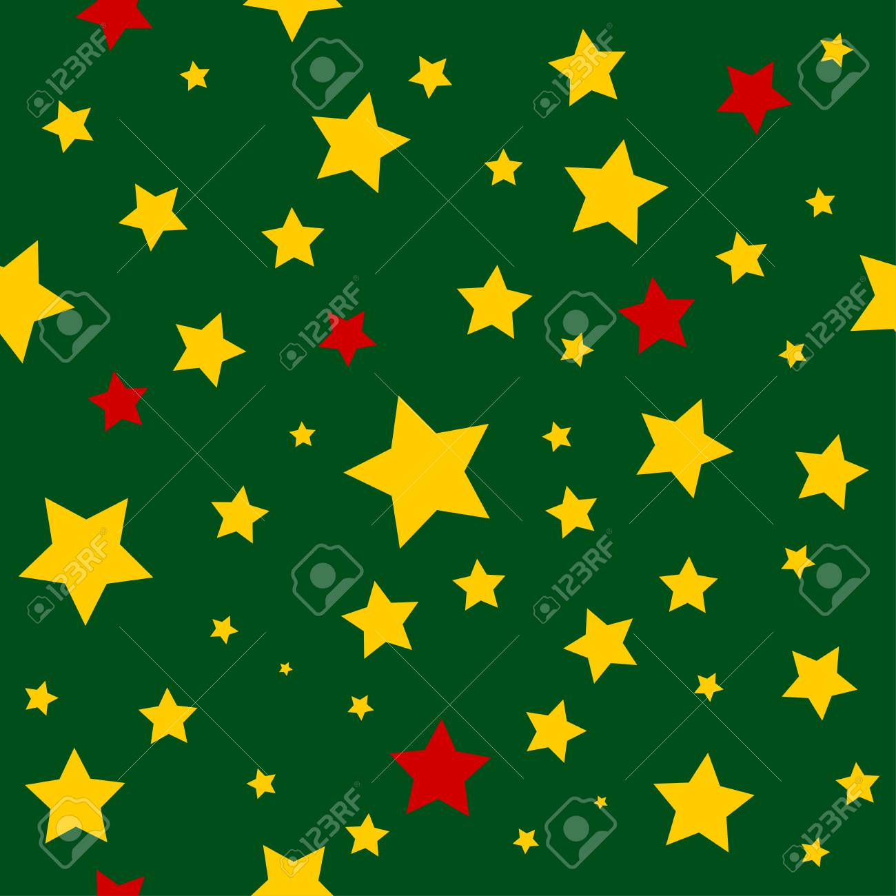 vector yellow red stars green christmas background vector illustration