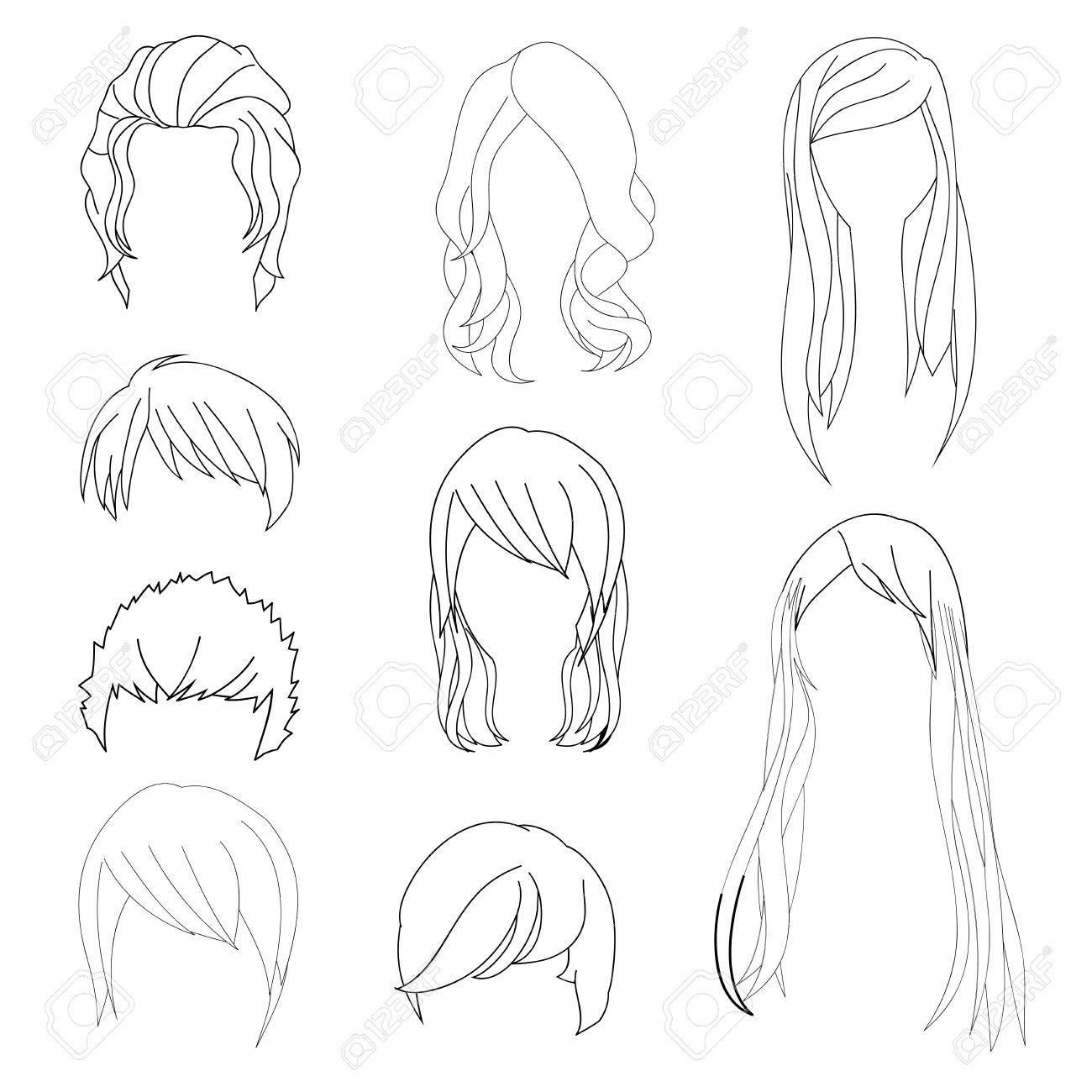 Collection Coiffure Pour Homme Et Femme Cheveux Dessin Set 1 Vector