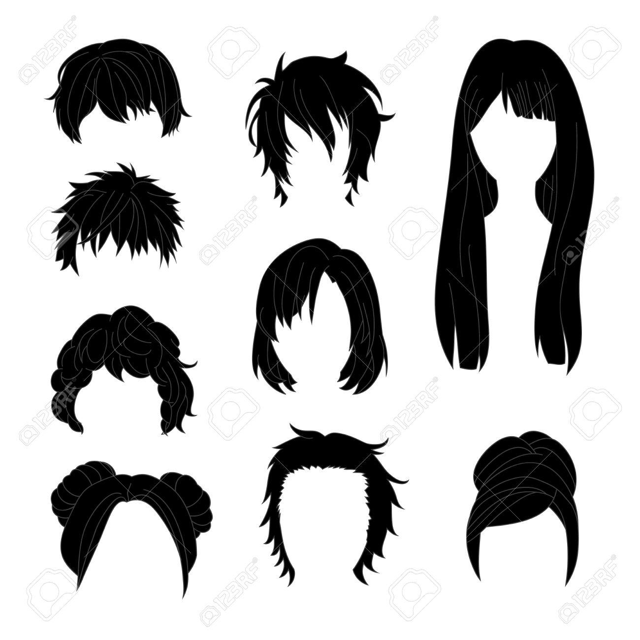 Collection Coiffure Pour Homme Et Femme Noire Dessiner Des Cheveux