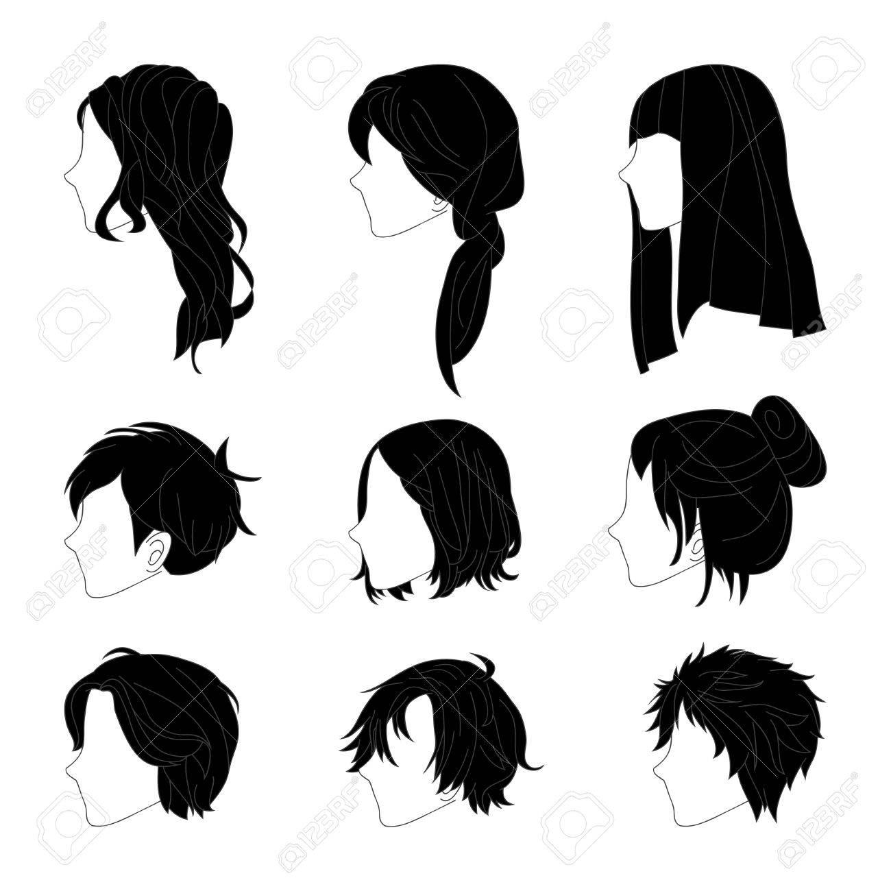 Coiffure Cote Vue Homme Et Jeu De Dessin De Cheveux Femme Cliparts