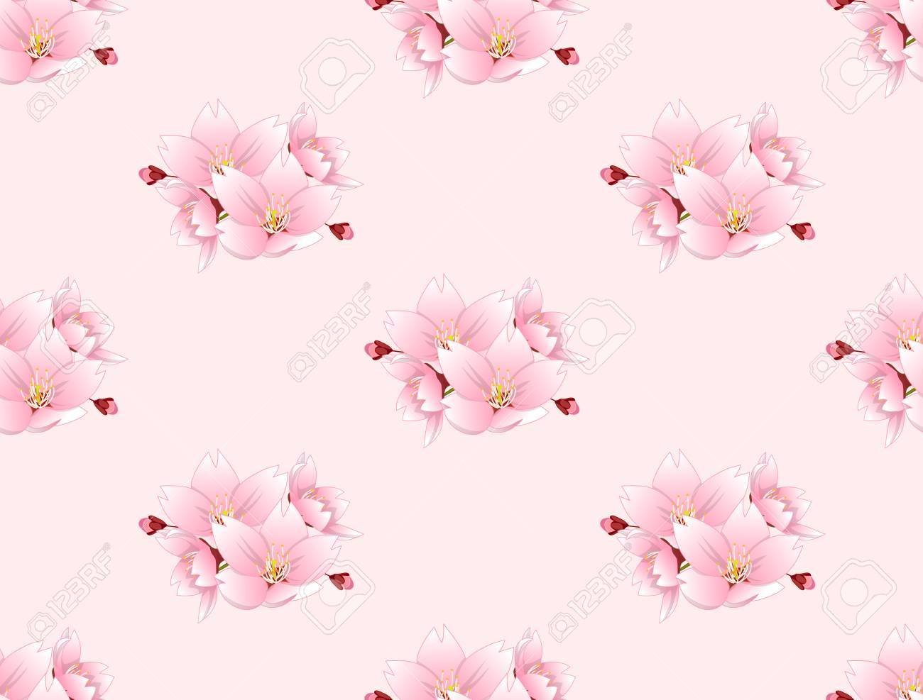 Sakura Cherry Blossom Flower Pattern Royalty Free Cliparts Vectors And Stock Illustration Image 88091659