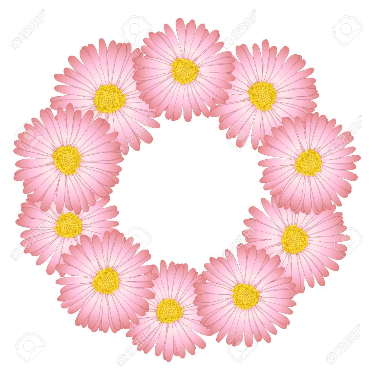 Pink aster daisy flower wreath vector illustration royalty free pink aster daisy flower wreath vector illustration stock vector 104820708 izmirmasajfo