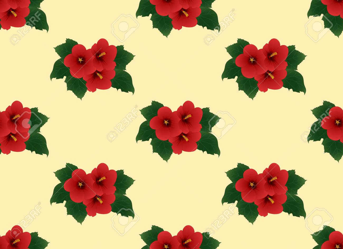 Red Hibiscus Syriacus Rose Of Sharon On Ivory Beige Background