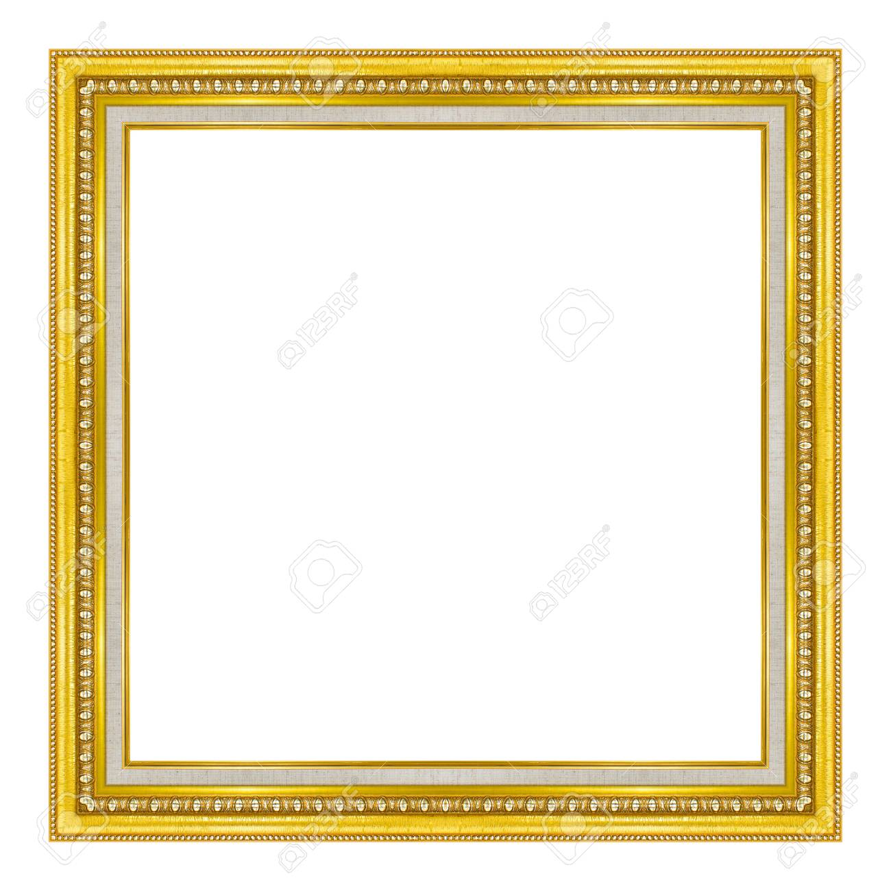 143e6bee43a5 picture frame wooden gold Carved pattern isolated on a white background.  Stock Photo - 77576696