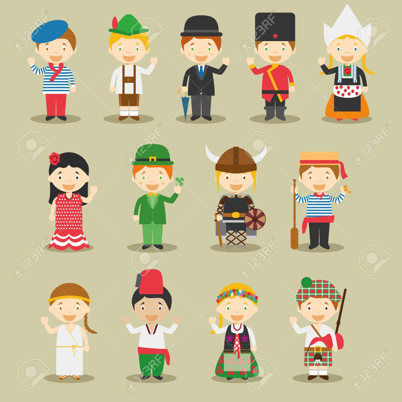 Kids And Vector Nationalities Of The World Europe September 1 Set 13 Different