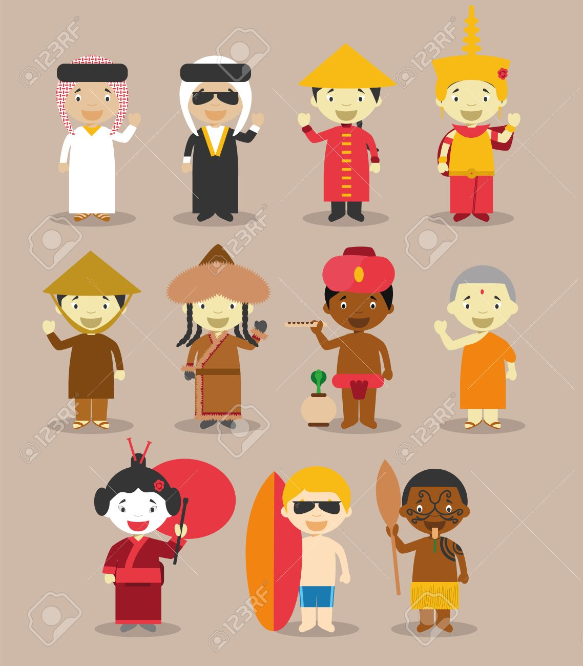 62ff0c3fb Kids and vector nationalities of the world: Asia and OceaniaAustralia  September 3. Set of 11 different characters dressed in national costumes 9  from Asia ...