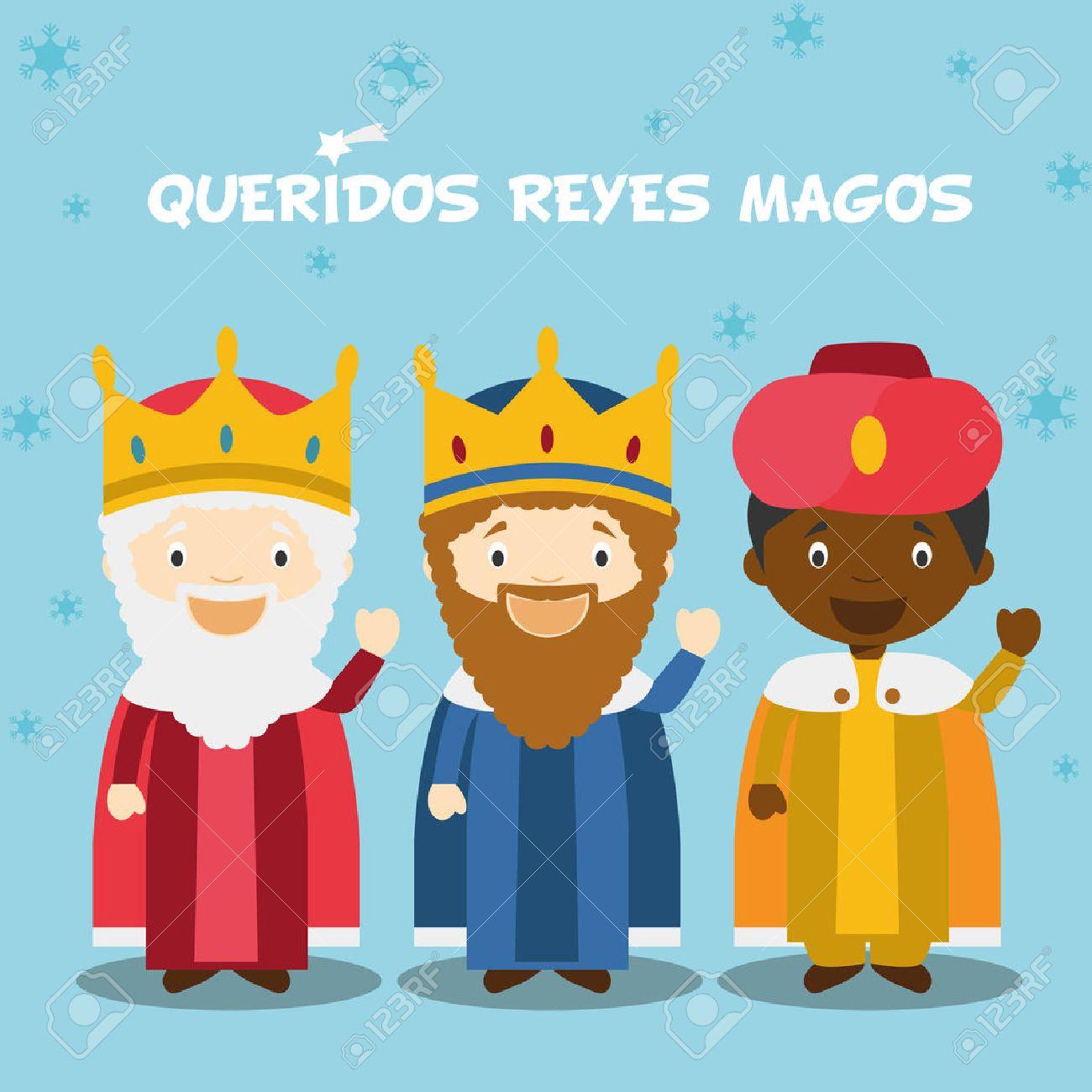 Tres Hombres Sabios Ilustracion Vectorial Para La Epoca De Navidad - Imagenes-infantiles-de-navidad