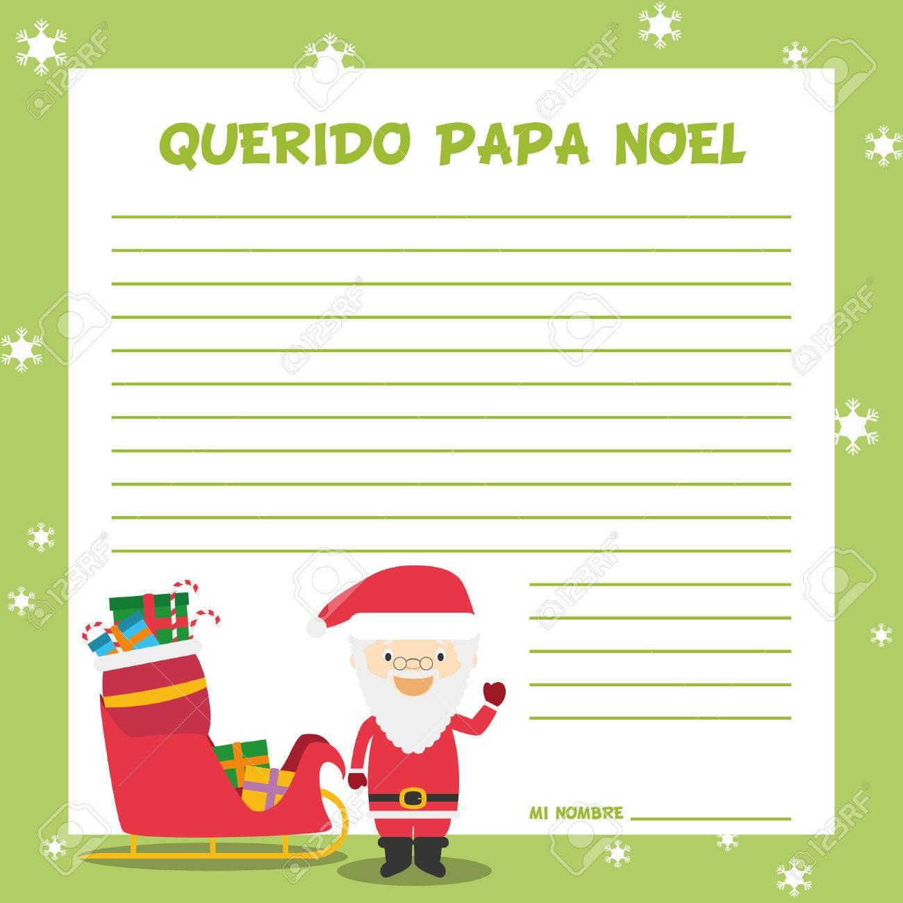 スペインのクリスマスの時期にサンタ クロース手紙テンプレート ベクトル