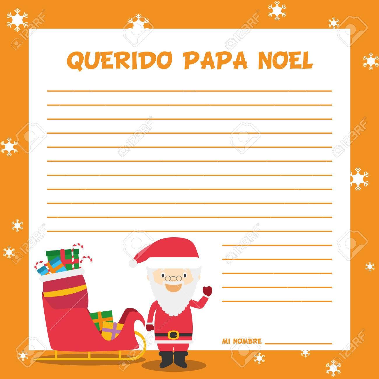 Modele De Lettre Pour Pere Noel.Pere Noel Modele De Lettre Illustration Vectorielle Pour Le Temps De Noel En Espagnol
