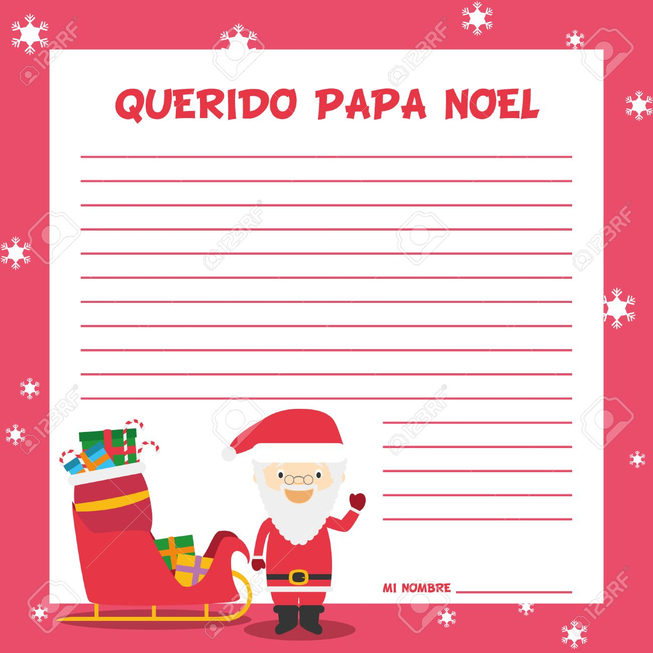 Lettre Pour Le Pere Noel.Père Noël Modèle De Lettre Illustration Vectorielle Pour Le Temps De Noël En Espagnol