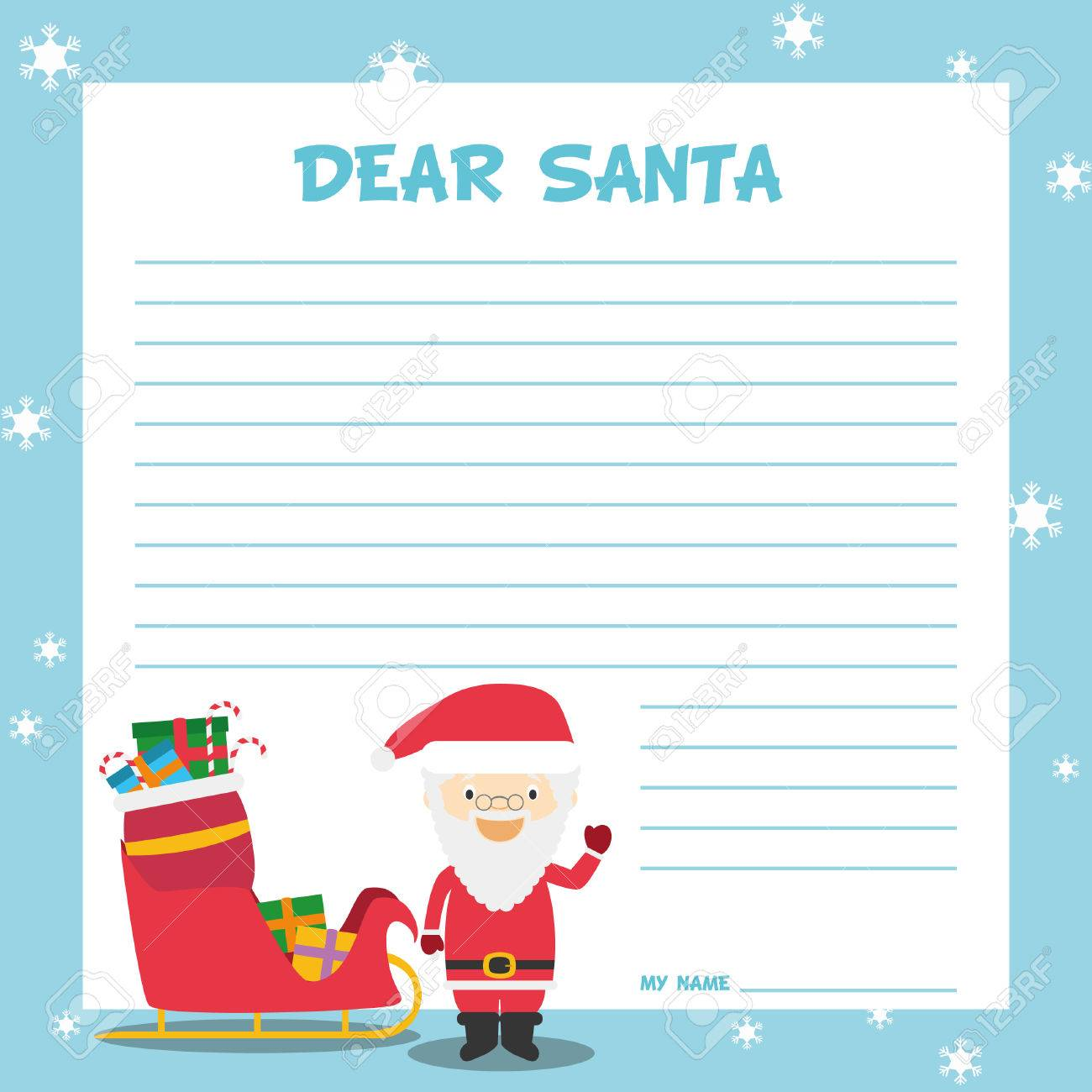 Santa claus letter template vector illustration for christmas santa claus letter template vector illustration for christmas time with child character sled and spiritdancerdesigns Image collections