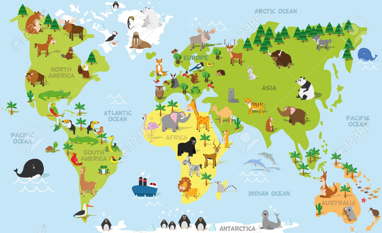 Funny cartoon world map with traditional animals of all the continents and oceans. Vector illustration for preschool education and kids design - 51545406