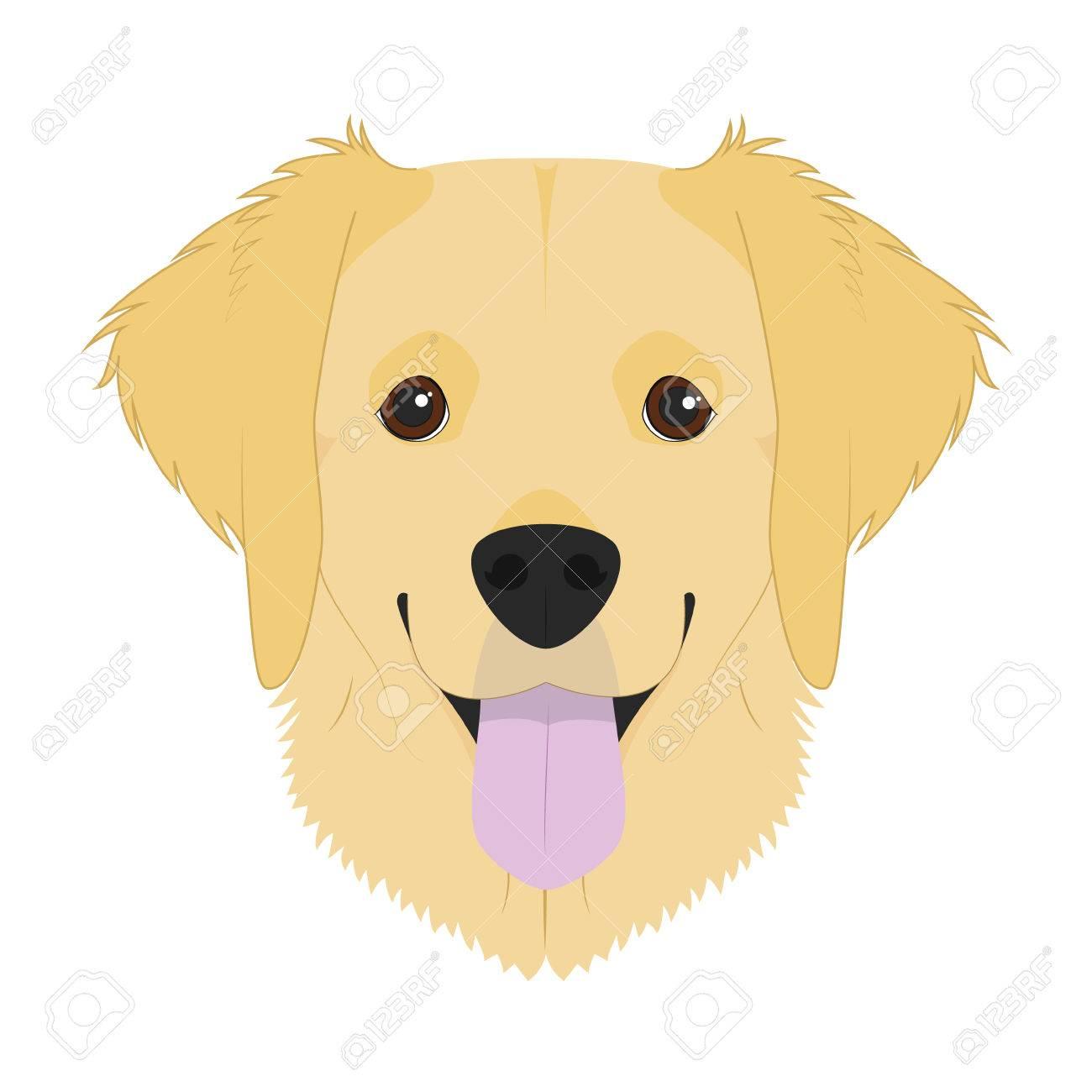 白い背景のベクトル図に分離されたゴールデン レトリーバー犬の