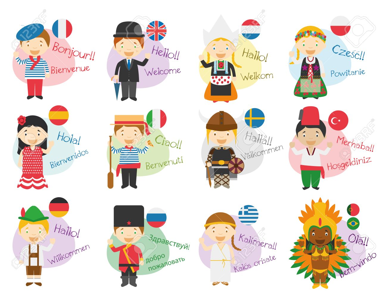 Vector illustration of cartoon characters saying hello and welcome in 12 different languages: Ingl?s, french, spanish, german, italian, russian, dutch, sweden, greek, polish, turkish or portuguese and brazilian. - 63210815