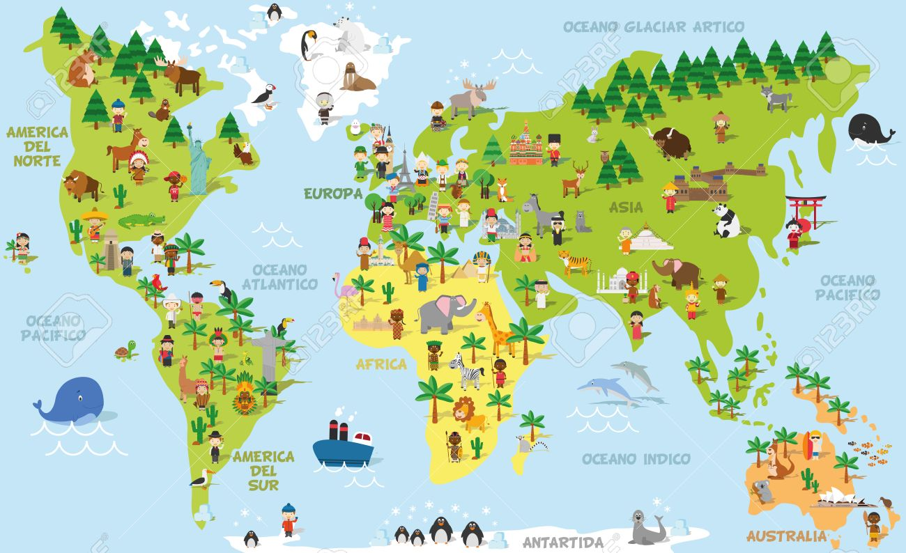 Funny cartoon world map with children of different nationalities, animals and monuments of all the continents and oceans. Names in spanish. Vector illustration for preschool education and kids design. - 63210824
