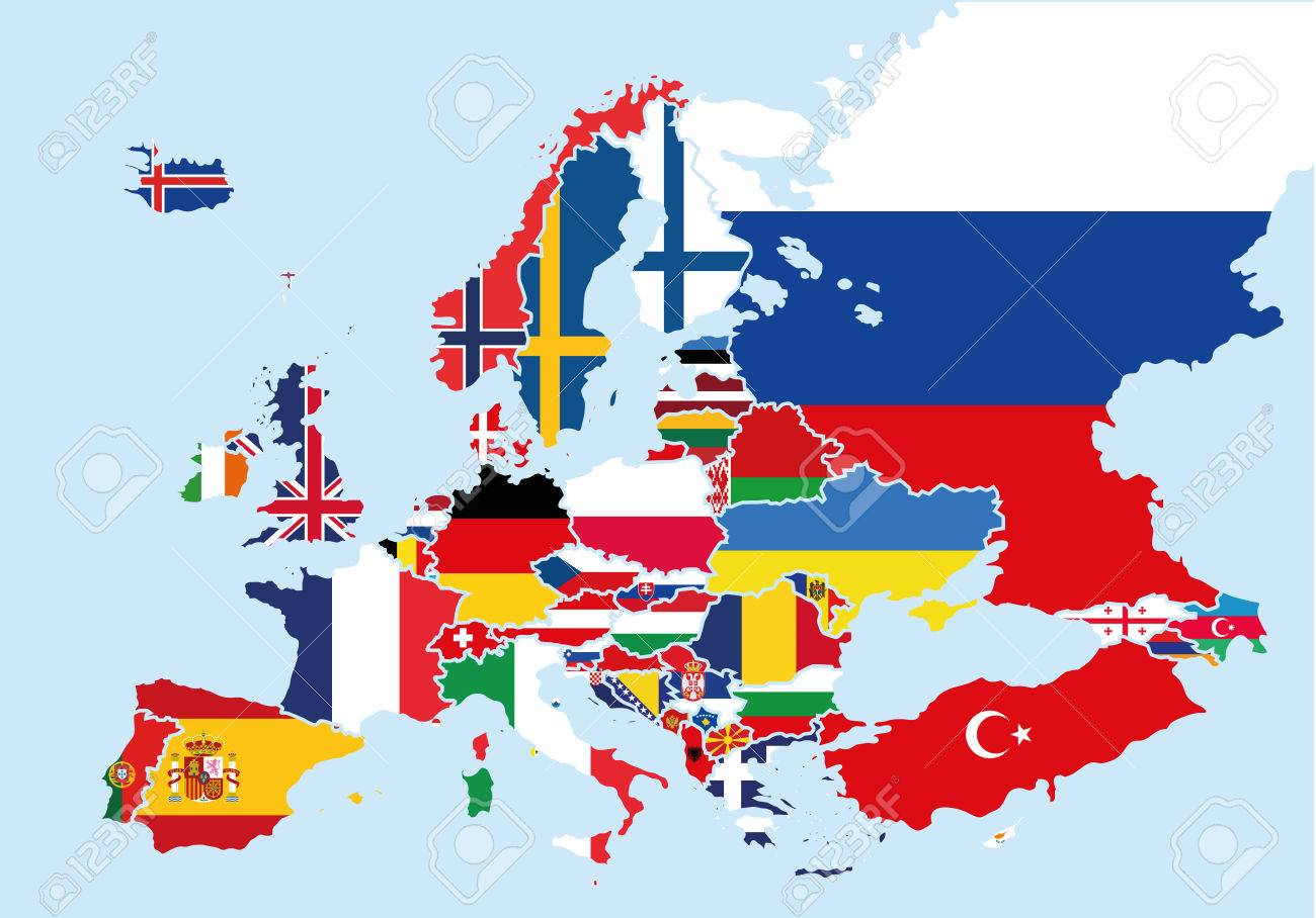 Map Of Europe Colored With The Flags Of Each Country Royalty Free ...