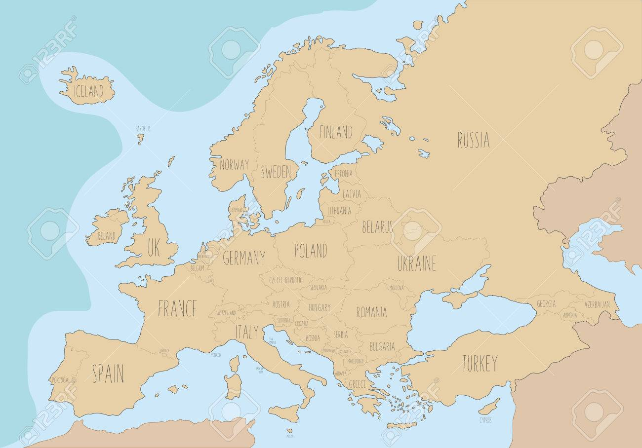 Political map of europe with names in english vector illustration political map of europe with names in english vector illustration stock vector 63210842 gumiabroncs Choice Image