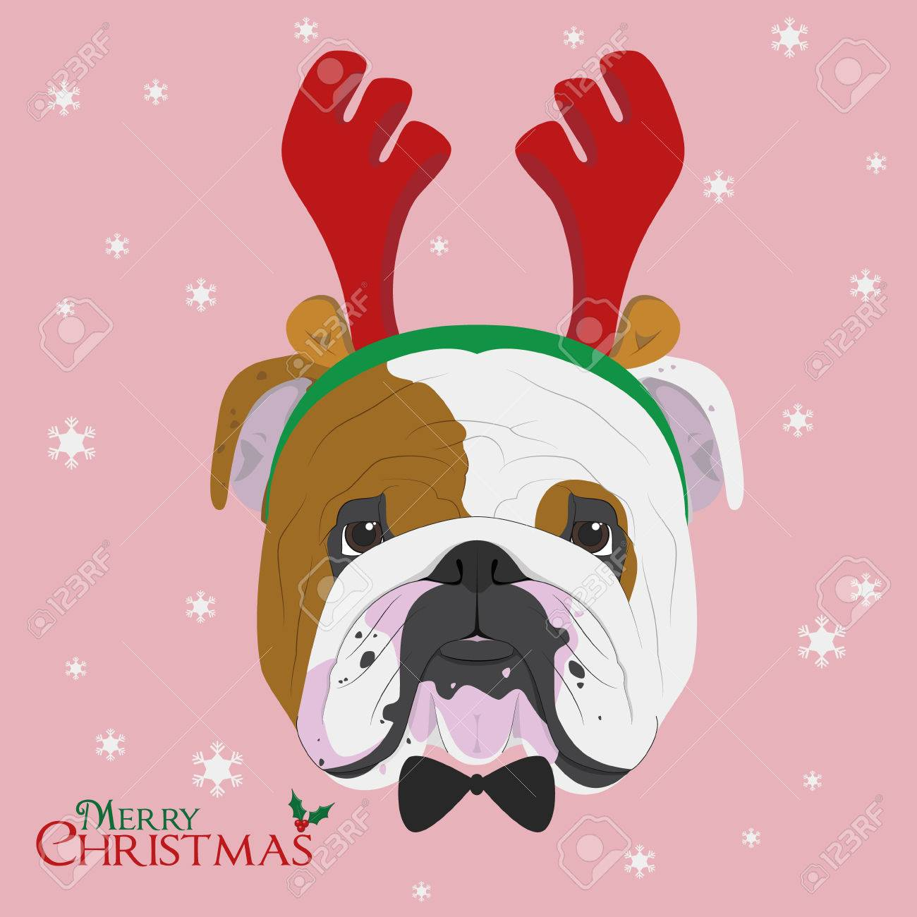 Christmas Greeting Card. English Bulldog Dog With Reindeer Horns ...