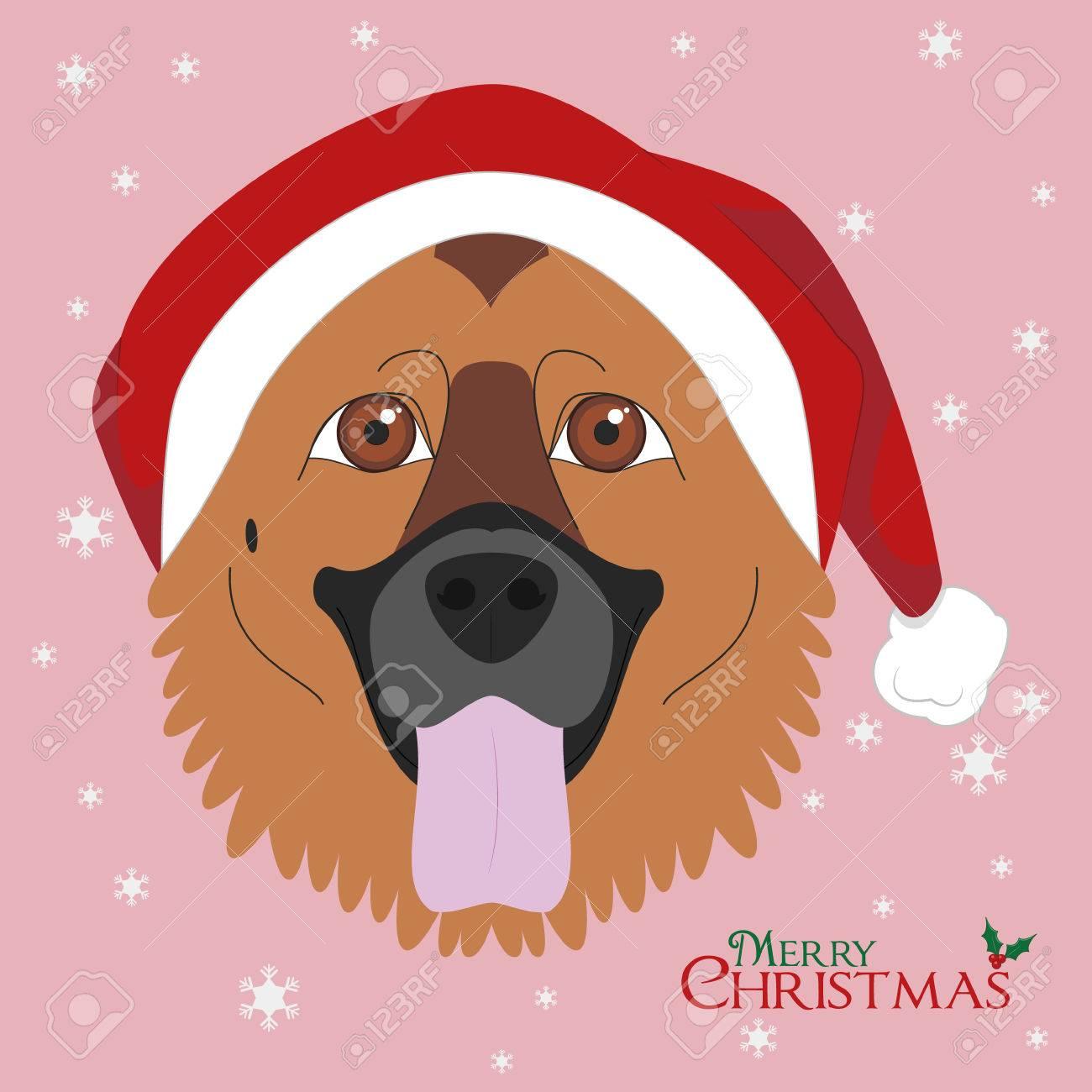 Christmas greeting card german shepherd dog with red santas christmas greeting card german shepherd dog with red santas hat stock vector 66826364 m4hsunfo