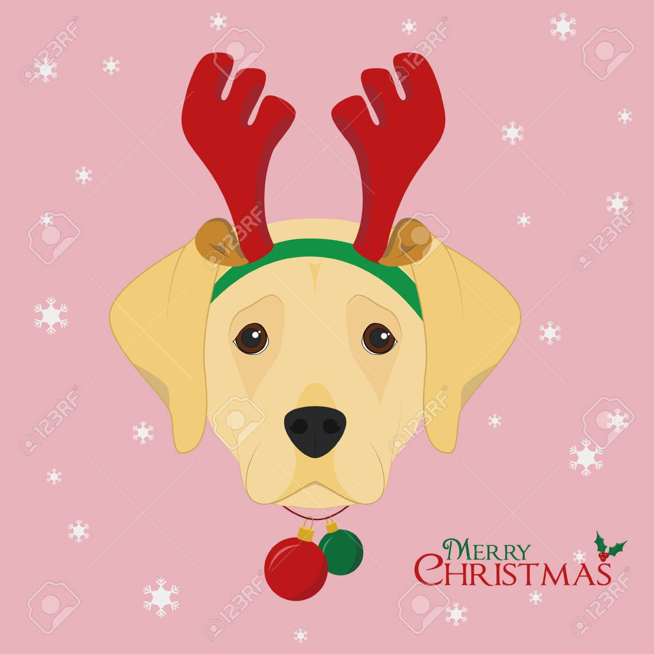 Christmas Greeting Card. Labrador Retriever Dog With Reindeer ...