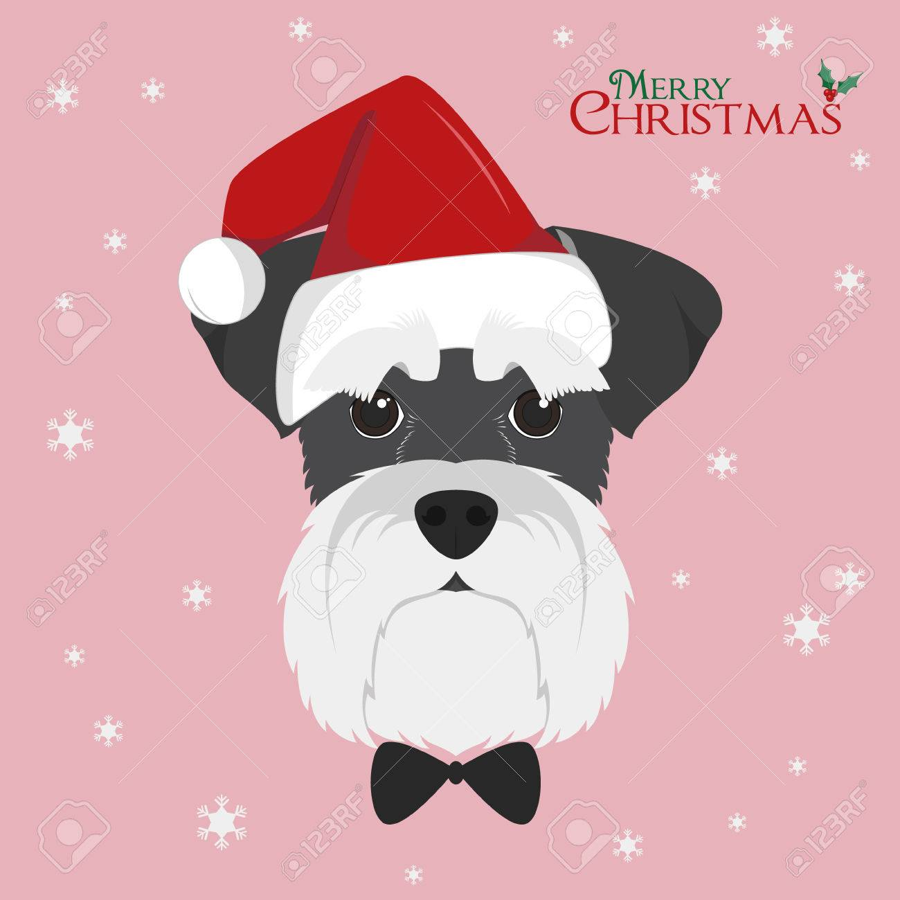 Christmas greeting card schnauzer dog with red santas hat christmas greeting card schnauzer dog with red santas hat stock vector 66826358 kristyandbryce Image collections