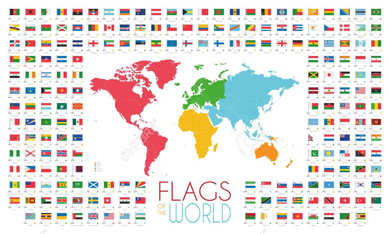 Map Of World Flags.204 World Flags With World Map By Continents Royalty Free Cliparts