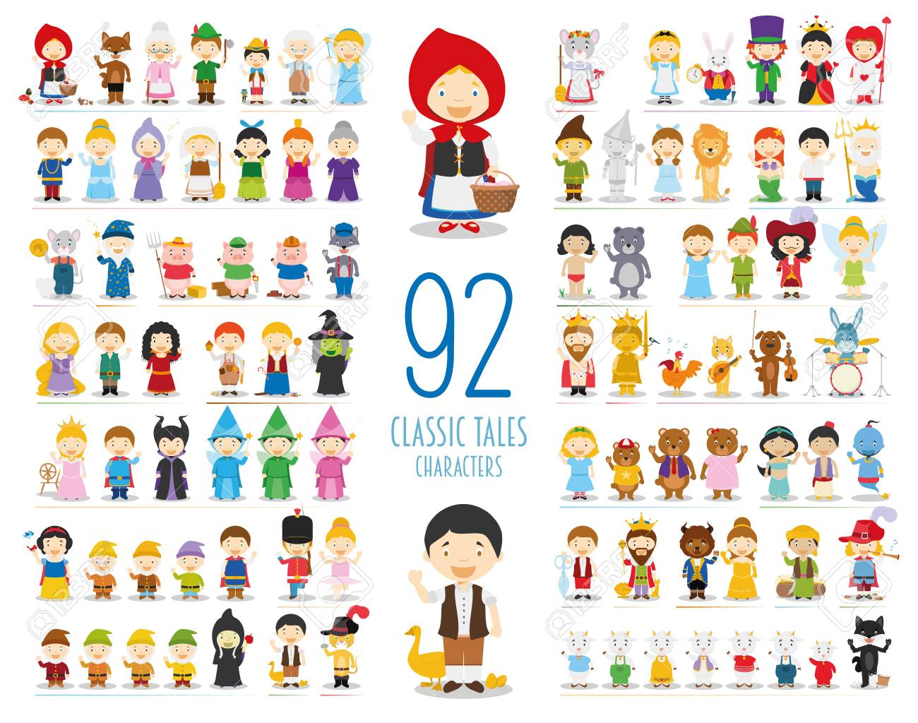 Kids Vector Characters Collection: Set of 92 Classic Tales Characters in cartoon style - 92429253
