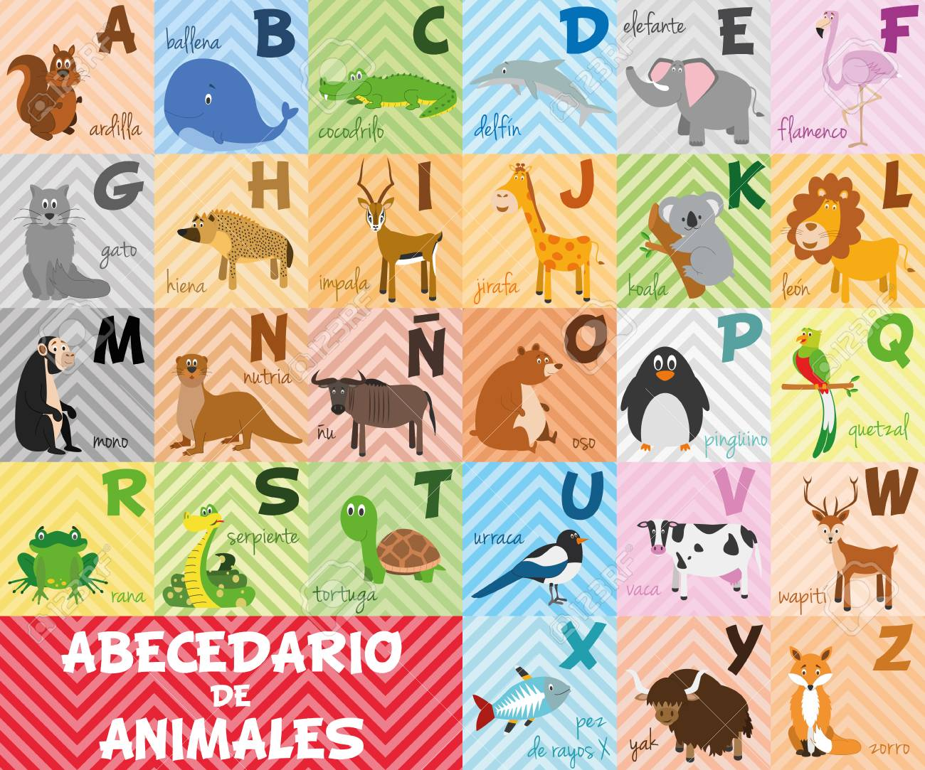 Alphabet Illustre De Zoo De Dessin Anime Mignon Avec Des Animaux