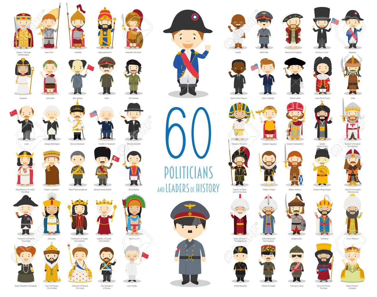 Kids Vector Characters Collection: Set of 60 relevant Politicians