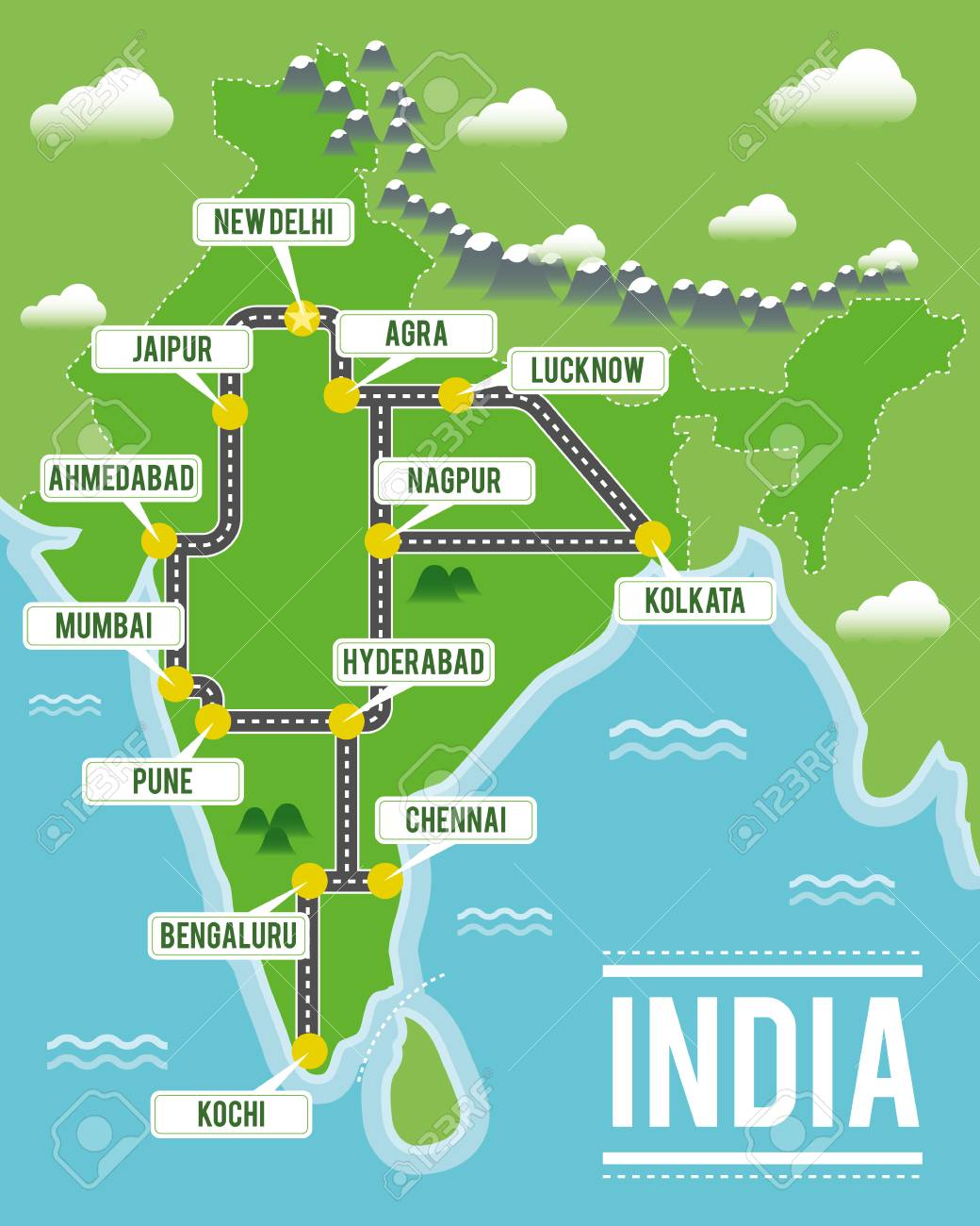 India Travel Map Cartoon Vector Map Of India. Travel Illustration With Indian
