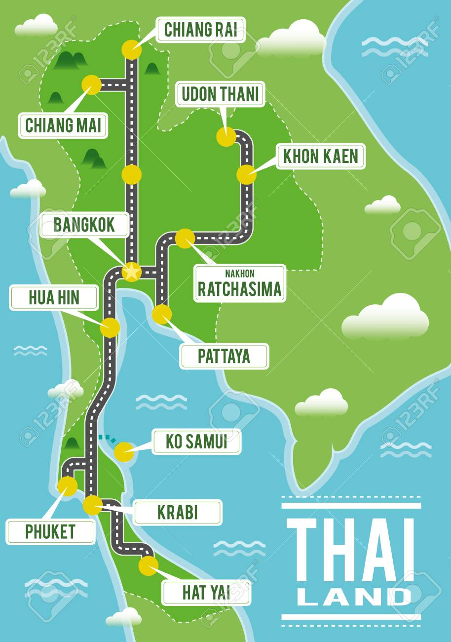 Cartoon Vector Map Of Thailand Travel Illustration With Thai