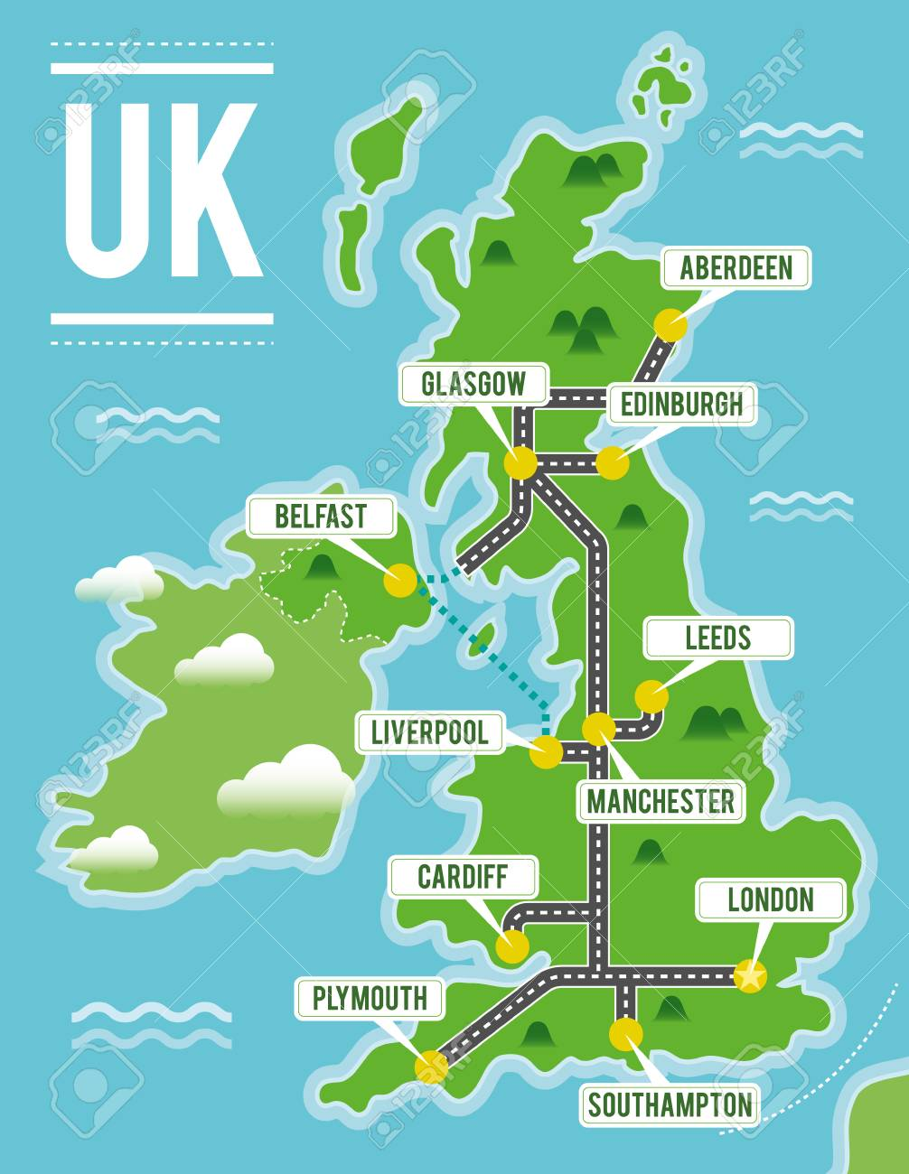 Map Of Uk And Cities.Cartoon Vector Map Of United Kingdom Travel Illustration With