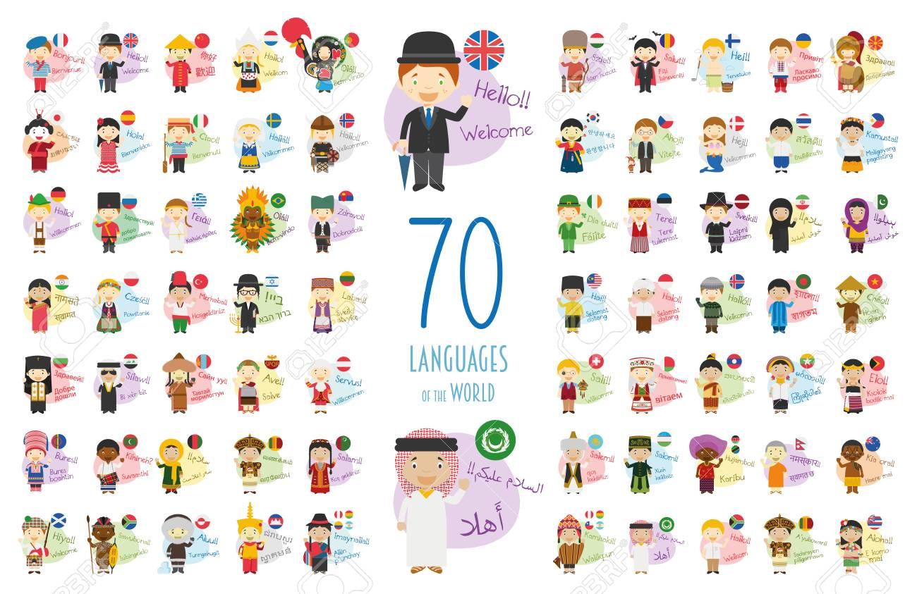 100 Pictures Cartoon Characters vector illustration of cartoon characters saying hello and welcome..