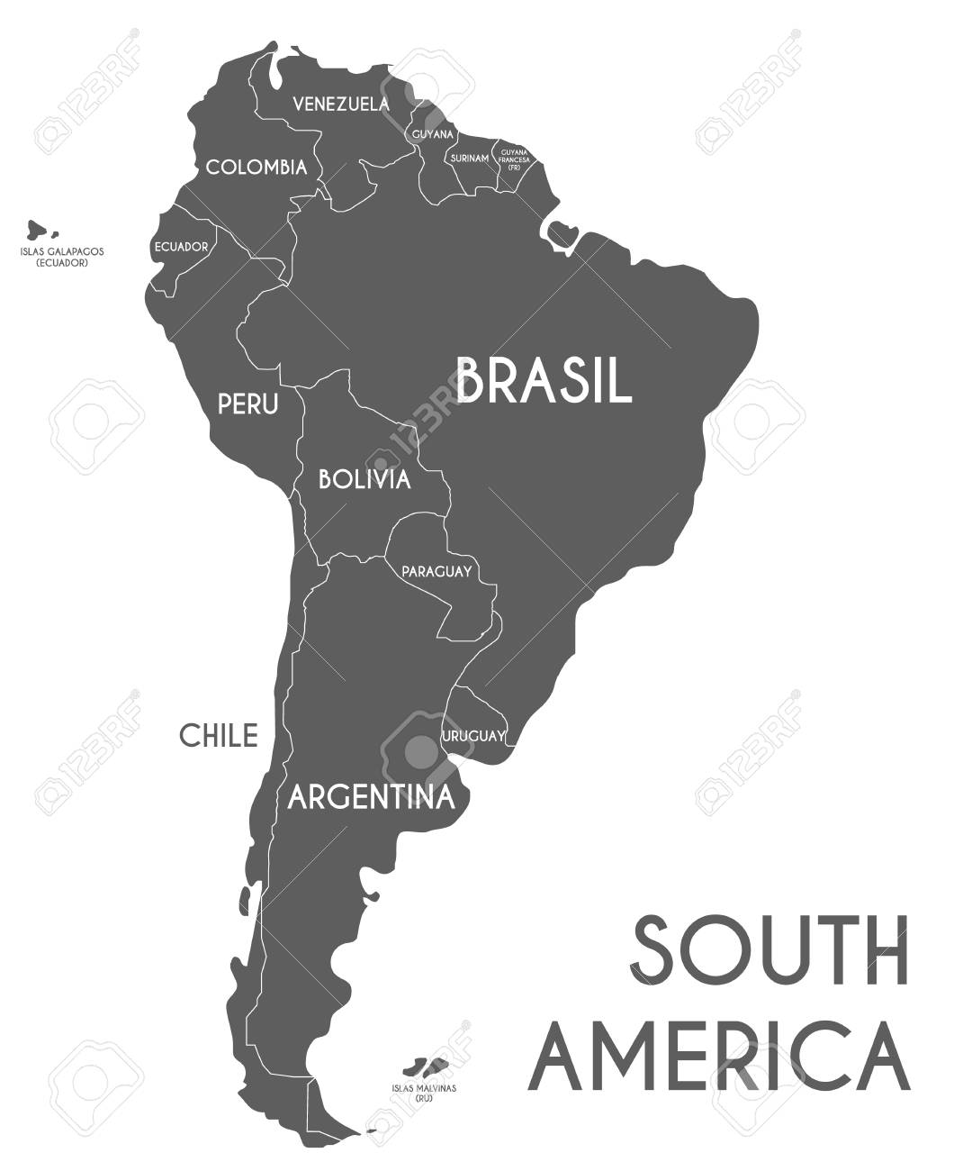 Political South America Map vector illustration isolated on white..