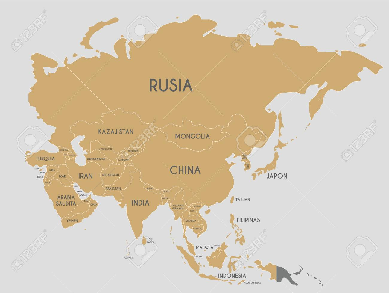 Map Of Asia With Country Names.Political Asia Map Vector Illustration With Country Names In