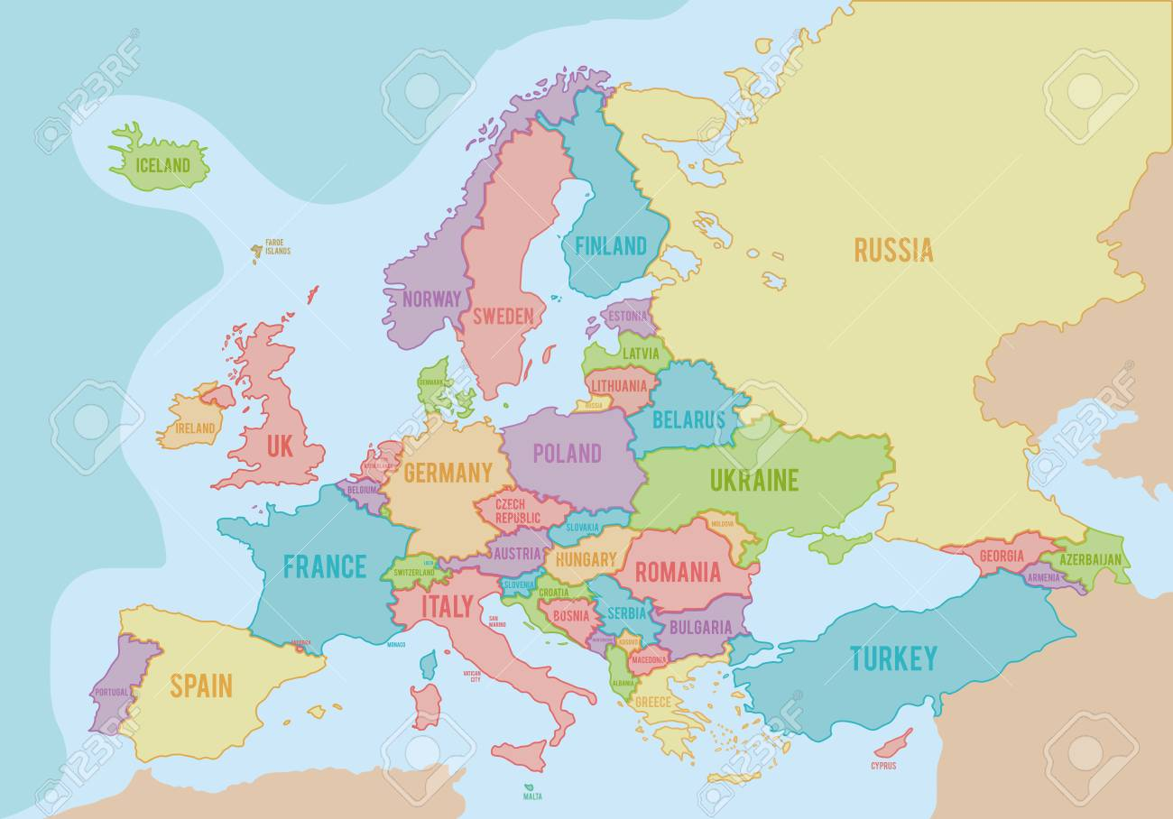 map of europe english names Political Map Of Europe With Colors And Borders For Each Country