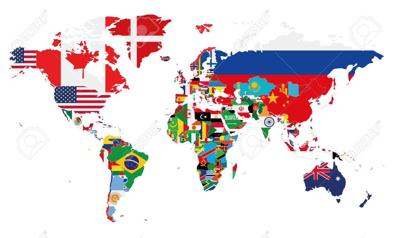 on world map labeled
