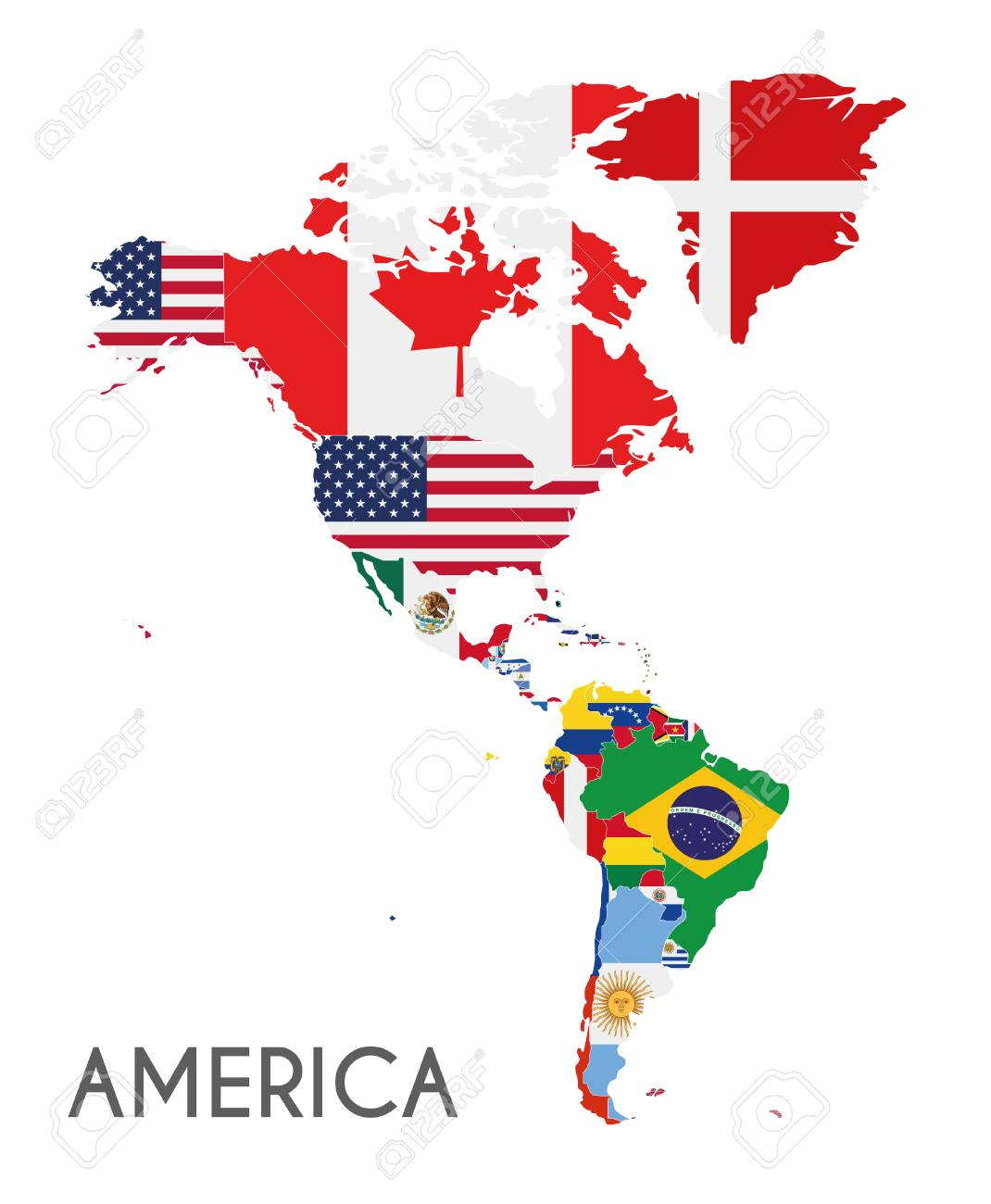 American Map Vector.Political America Map Vector Illustration With The Flags Of All