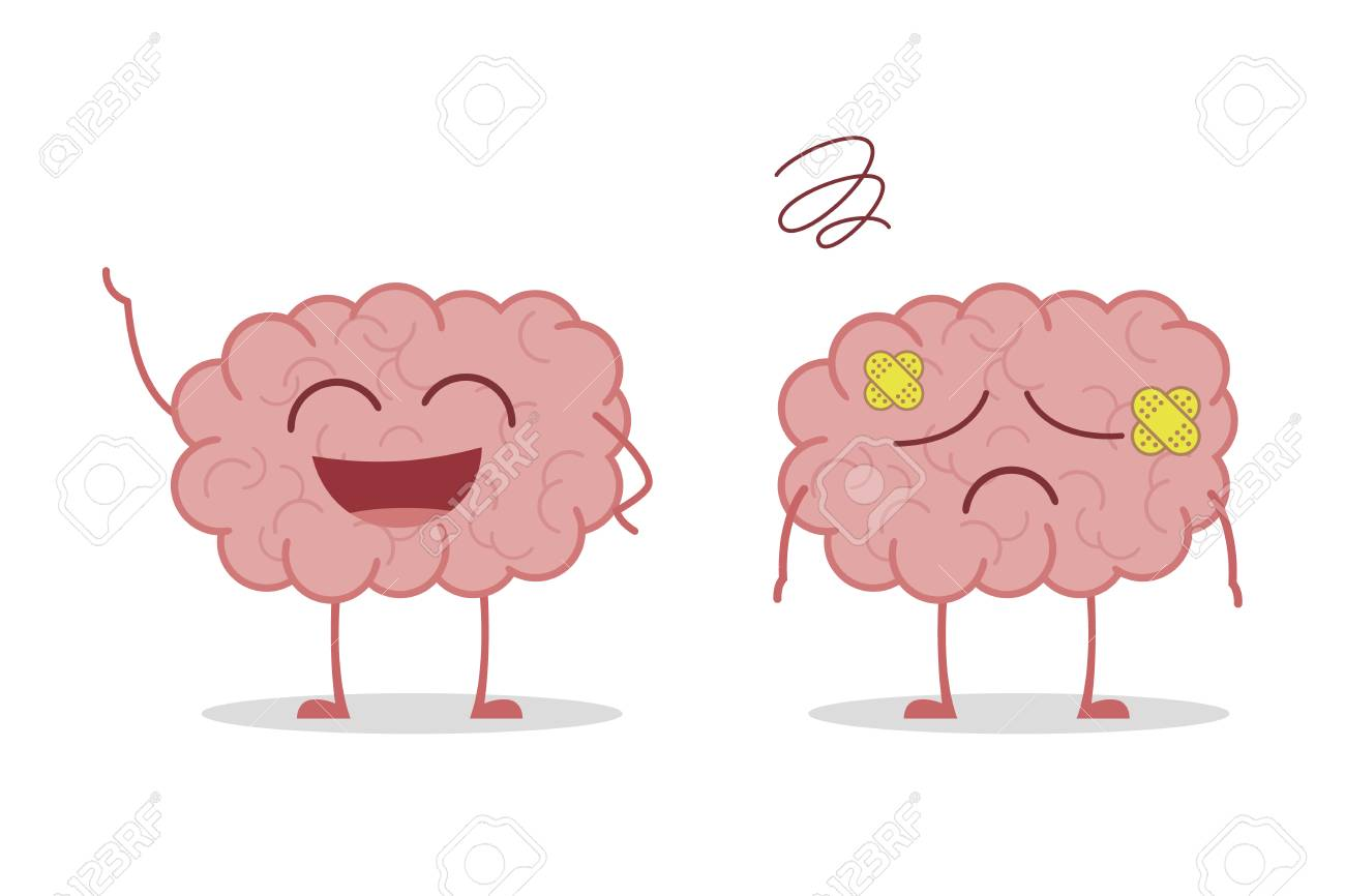 Healthy and sick brain isolated on white background vector illustration - 114877589